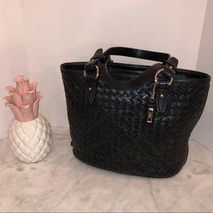 Cole Haan Black leather basket weave shoulder. 😎